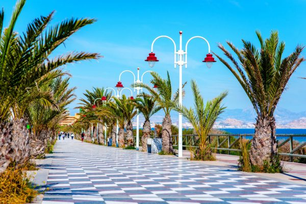 53145072 - people walking along the seafront palm-lined promenade in los arenales del sol. costa blanca, spain